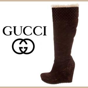 0b1fb8c93 Guccissima Brown Suede Platform Wedge Boots 8.5 GG
